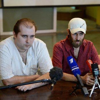 Пресс-конференция освобожденных из плена представителей ДНР в Донецке