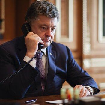 Петр Порошенко говорит с Б.Обамой