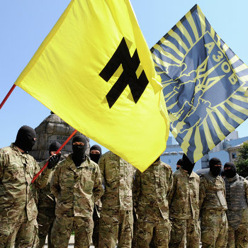 """Бойцы батальона """"Азов"""" приняли присягу в Киеве перед отправкой на Донбасс"""