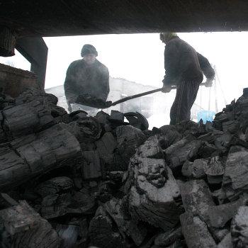 Производство древесного угля в деревне Круча Могилевской области