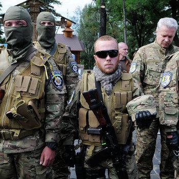 Отправление добровольческого батальона Сич в зону вооруженного конфликта