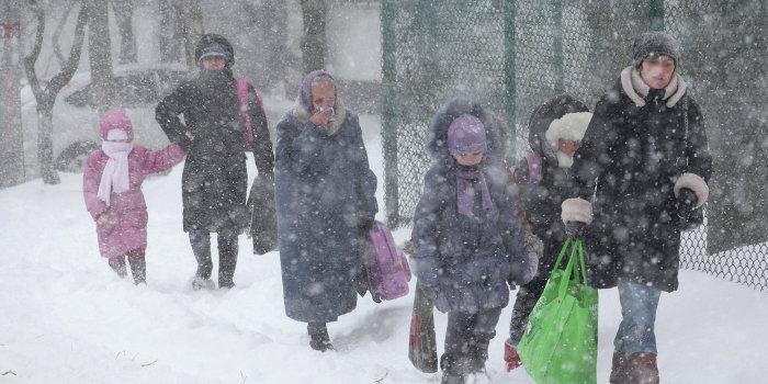 Сильный снегопад в Западной Украине