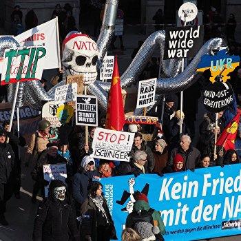 Акции протеста против НАТО в Мюнхене