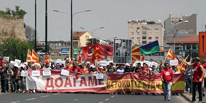 Массовые акция в Македонии