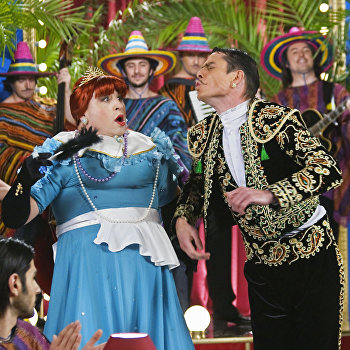 На съемках новогоднего мюзикла «Королевство кривых зеркал»