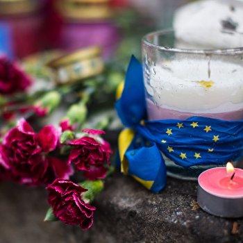 Цветы на баррикадах Майдана