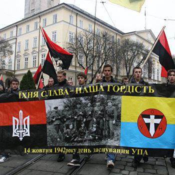 Украинские националисты прошли маршем по центру Львова