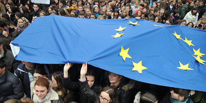 Студенческий митинг во Львове за вступление в ЕС