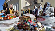 Освящение пасхальных куличей в Великую субботу