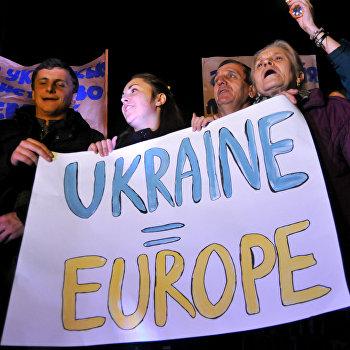 Акции сторонников вступления в Евросоюз во Львове