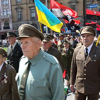 Шествие бывших воинов ОУН-УПА во Львове