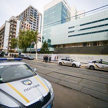 Последствия пожара в здании телеканала Интер в Киеве