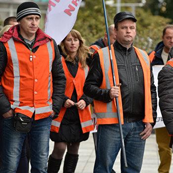 Акция работников ж/д транспорта в Киеве