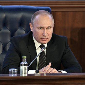 Президент РФ В. Путин принял участие в заседании расширенной коллегии Минобороры РФ