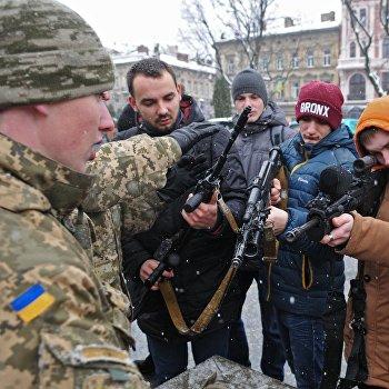 Празднование 25-й годовщины Вооруженных сил Украины во Львове