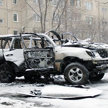 Взрыв автомобиля в Луганске