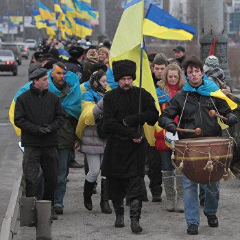 Празднование Дня соборности Украины в Киеве