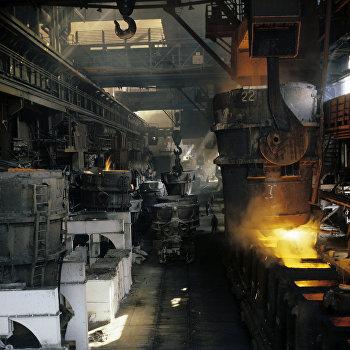 Процесс разливки стали на комбинате Запорожсталь