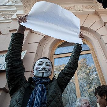Акция протеста против закона о клевете в Киеве