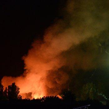 Пожар на территории военной части в Донецке