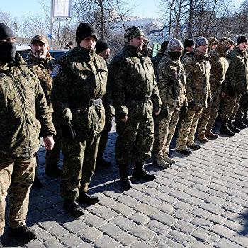 Отправка группы бойцов батальона Сич на юго-восток Украины