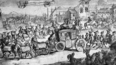 """Репродукция гравюры """"Въезд посольства Ван Кленка в Москву. 1665 год"""""""