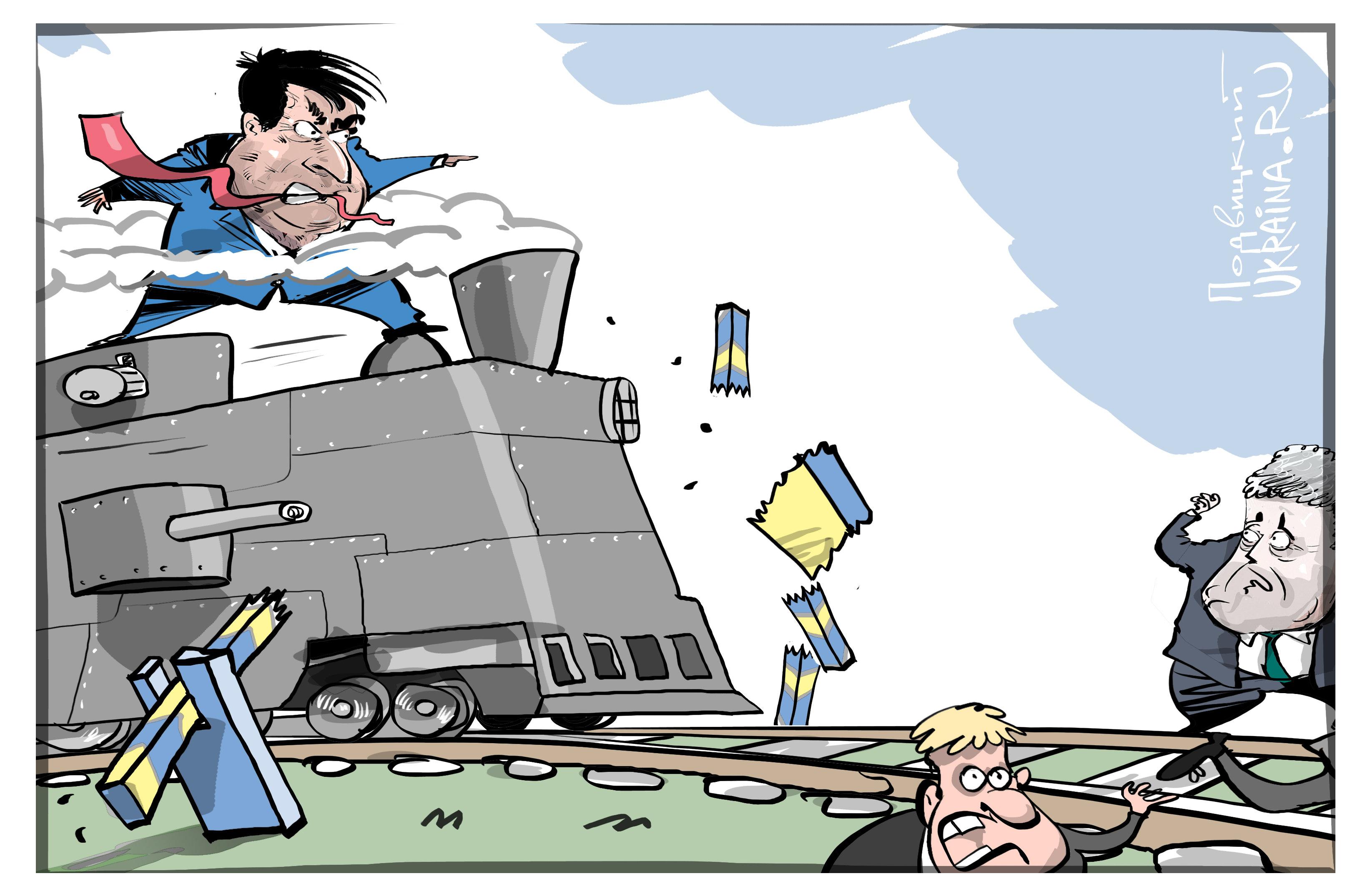 Карикатура Прорыв Саакашвили через украинскую границу